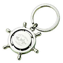 Boating Key Chains, Ship Navigator Wheel, Polished Nickel