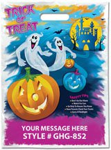 Halloween Bags, Full Color Ghost Stock Design, 11 x 15