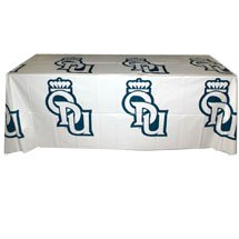 Disposable Plastic Table Covers w/ Step & Repeat Design, 6 ft.