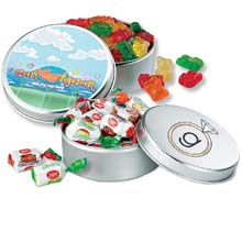 Candy Tins, Large Round, Gourmet Fills