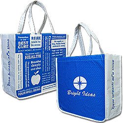 Recycled PET Shopping Totes, 85% Recycled, Wellness Message,  Large 16 x 14