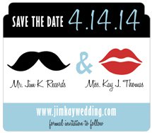 "Save The Date Rectangle Magnets,  4"" x 3.5"" with Die-Cut Top and Round Corners"
