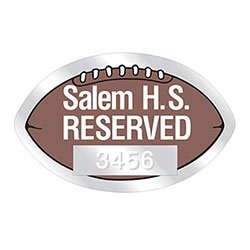 "Clear Parking Permit Decals, Football Shaped, 2-3/4"" x 1-3/4"" with Consecutive Numbers"
