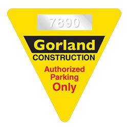 Triangle Clear Parking Permit Decals, / Numbering