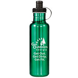 28 oz. Adventure Stainless Steel Sports Bottles, Drink-thru Lid