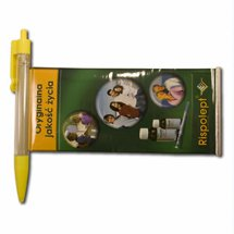 Retractable Banner Pens, Wide Clear Clip and Metallic Tip