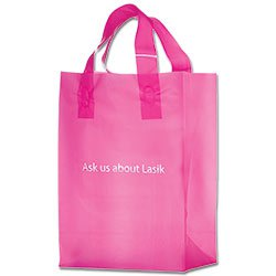 Plastic Shopping Bags, Soft Loop Handle, Foil Stamped, Pink Frosted 8 x 11