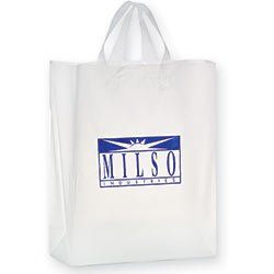 Plastic Shopping Bags, Soft Loop Handle, Foil Stamped, Frosted Clear 13 x 16