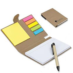 Recycled Notepad Sets, with Flags and Pen
