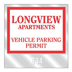 "Clear Parking Permit Window Clings, Style C, 3"" x 3"" with Consecutive Numbers"