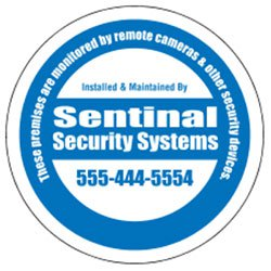 "Security Decals, 3"" Circle, White Vinyl"