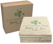 "4"" x 4"" Limestone Tumbled Stone Coasters, Boxed Set of 4"