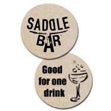 Wooden Nickels with Free Drink Stock Design
