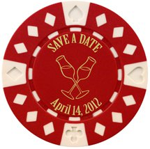 Save the Date Poker Chip Magnets, Champagne Glass Design