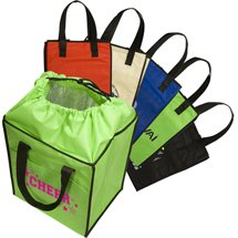 "Insulated Non-Woven Drawstring Grocery Totes, 12"" x 14.5"" x 9.5"""