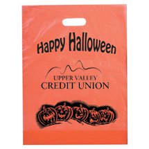 "Happy Halloween Orange Die Cut Plastic Bags, 12"" x 15"" x 3"""