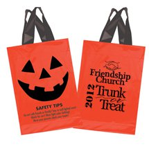 "Pumpkin Soft Loop Plastic Halloween Bags, 10"" x 15"""