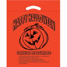 Spanish Orange Pumpkin Biodegradable Die Cut Plastic Halloween Bags