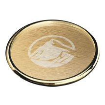 Gold Cosburn Brushed Aluminum Gold Coasters (Engraved)