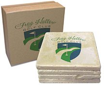 "4"" x 4"" Italian Botticino Marble Tumbled Stone 4-Piece Coaster Sets"