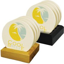 4-Piece Round Absorbent Stone Coaster Sets on Wood Stand