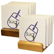 4-Piece Square Absorbent Stone Coaster Sets on Wood Stand