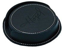Bikers Black Soft Leather Coaster Set of Four