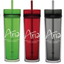 16 oz. Tube Double Wall Acrylic Tumbler with Straw