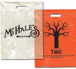 "11"" x 15"" Biodegradable Die Cut Colored Take Home Bags"