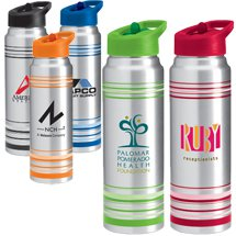 32 oz. Striped Aluminum Water Bottles