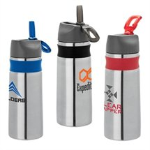 26 oz. Steel Water Bottles with Silicone Band