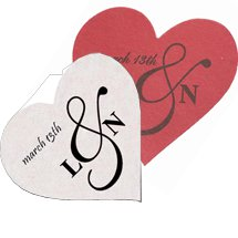 "3.5"" 40 pt.  Heart White Drink Coasters"