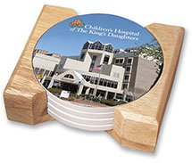 4-Piece Round Absorbent Stoneware Coaster Sets in Wood Holder