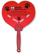 Opaque Heart Plastic Hand Fans with Solid Handles