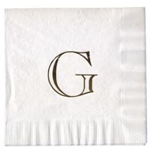 3-Ply White Wedding Beverage Napkins, Foil Stamped