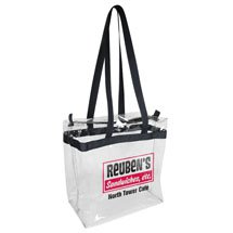 "12"" x 12"" x 6"" Clear Stadium Tote Bags with Zipper"
