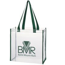 Thrifty Clear Stadium Tote Bags with Colored Handles