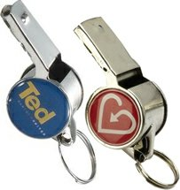 Metal Whistle Key Chains with Dome Imprint