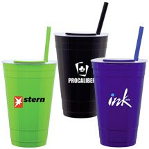 "16 oz. ""Player"" Double Wall Acrylic Party Tumbler with Straw"