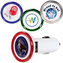 Round USB Car Chargers - Full Color