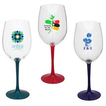 16 oz. Full Color Wine Glasses with Colored Stems