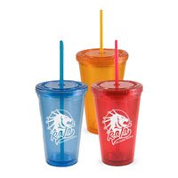 16 oz. Double Wall Acrylic Tumbler with Straw and Lid