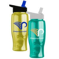 200 Custom 27 oz. Poly-Pure Travel Bottle with Flip Straw Lid