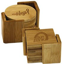 6 Custom 6 Piece Bamboo Coaster Sets