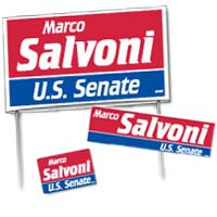 Campaign Package Deals - 100 Yard Signs, 500 Bumper Stickers & 1,000 Lapel Stickers