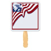 Patriotic Square Hand Fans, Eagle with Flag