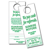 Paper Door Hangers, Perforated Card