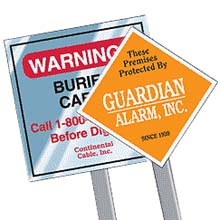 Square Security Yard Signs with Optional Stakes