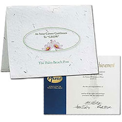 "Seed Paper Certificate Holders, Full Color Process, 9"" x 11-1/2"""