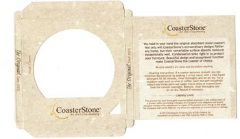 "4.25"" Round Absorbent Stone Coasters in Retail Gift Box"